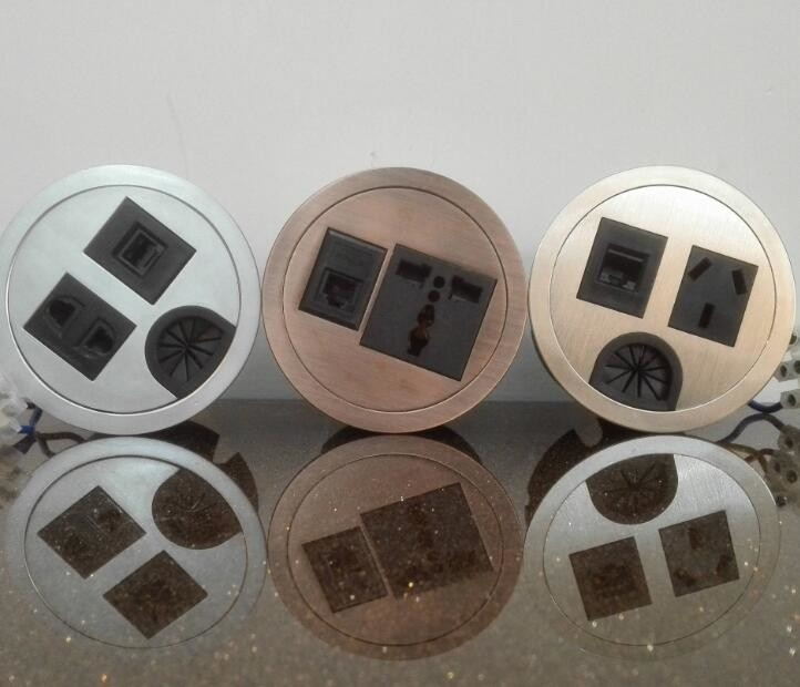 Round Conference Table Socket / Zinc Alloy Desktop Power Sockets